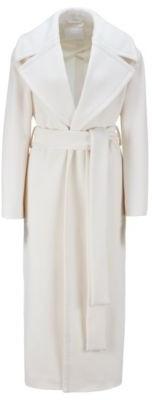 HUGO BOSS Relaxed Fit Coat In Virgin Wool With Zibeline Finish - White