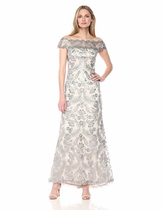 Tadashi Shoji Women's Sequin Lace Gown with Illusion Neckline