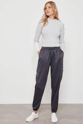 Mint Velvet Womens Grey Graphite Satin Cargo Trousers - Grey