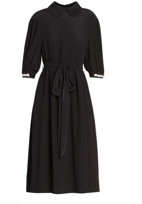 Simone Rocha Beaded Cuff Belted Silk Crepe De Chine Dress