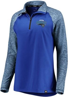 Möve Women's Fanatics Branded Blue/Heathered Blue Orlando Magic Made to Static Performance Raglan Sleeve Quarter-Zip Pullover Jacket