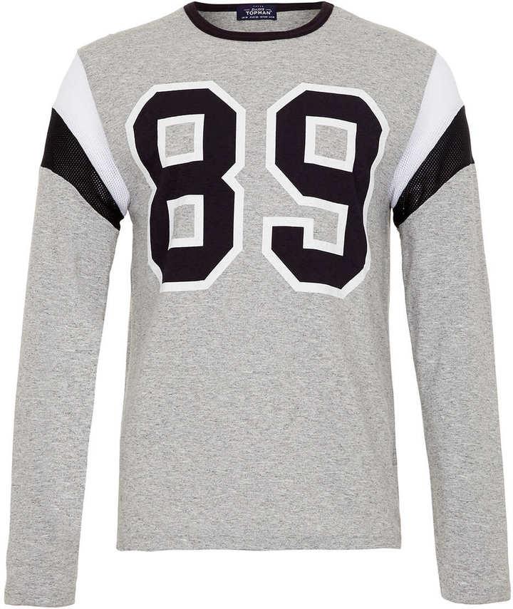 Topman Grey marl 89 long sleeve t-shirt