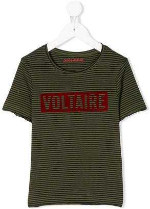 Zadig & Voltaire Kids striped logo print T-shirt