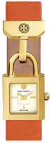 Tory Burch Surrey Leather Padlock Watch, Orange