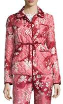 Moncler Quilted Floral Silk Open-Front Jacket, Pink