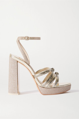 Sophia Webster Freya Crystal-embellished Metallic Snake-effect And Glittered Leather Platform Sandals - Gold