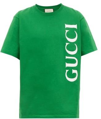 Gucci Vertical Logo Cotton T-shirt - Green