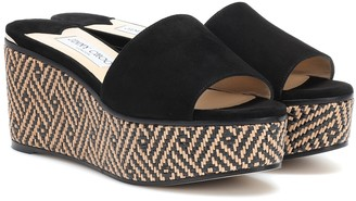 Jimmy Choo Deedee 80 suede wedge sandals