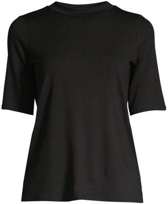 Eileen Fisher Fine Tencel Jersey Elbow-Sleeve Tee