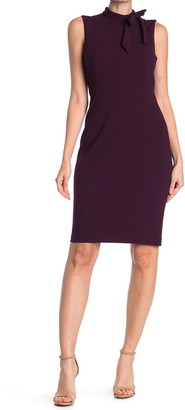 Calvin Klein Sleeveless Tie Neck Sheath Dress