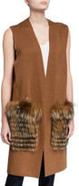 Kobi Halperin Plus Size Roanne Sweater Vest w/ Removable Fur Trim
