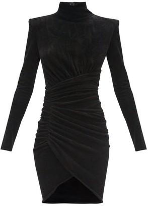 Alexandre Vauthier High-neck Draped Velvet Mini Dress - Black