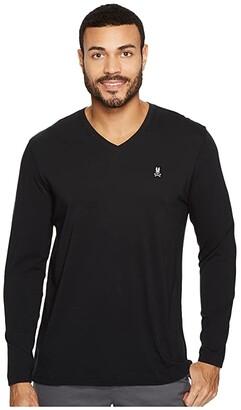 Psycho Bunny V-Neck Long Sleeve T-Shirt (Black) Men's Long Sleeve Pullover