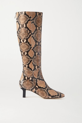 AEYDĒ Cicely Snake-effect Leather Knee Boots - Snake print