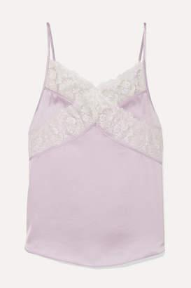 Diane von Furstenberg Nora Lace-trimmed Satin Camisole - Lilac