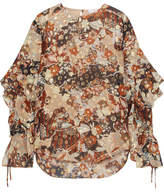 Chloé Printed Metallic Fil Coupé Silk-georgette Blouse - Peach