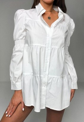 Missguided Poplin Ruched Sleeve Smock Shirt
