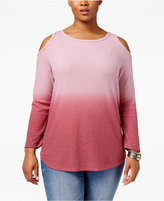 Style&Co. Style & Co Plus Size Cold-Shoulder Ombré Top, Only at Macy's