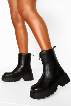 boohoo Wide Fit Chunky Sole Zip Front Boots