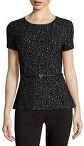 Liz Claiborne Short-Sleeve Belted Knit Peplum Top - Tall