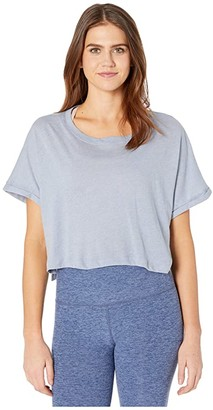 Beyond Yoga Never Been Boxy Tee (Serene Blue Heather) Women's Clothing