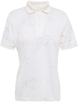 Ganni Floral-print Pique Polo Shirt