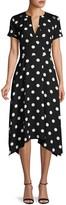 Karl Lagerfeld Paris Polka Dot Faux-Wrap Dress