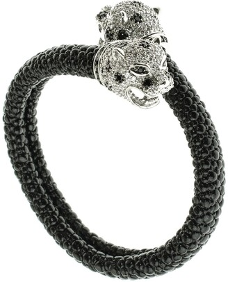 Cz By Kenneth Jay Lane CZ Accented Leopard Bangle