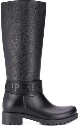 Philipp Plein Logo Strap Knee-High Boots
