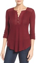 Lucky Brand Crochet Trim Print Top