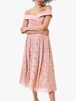 Oasis Lace Skirt Bardot Midi Dress