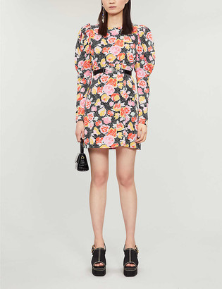 Topshop Floral-print puffed-sleeve crepe mini dress