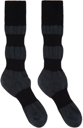 Homme Plissé Issey Miyake Grey and Black Panelled Socks