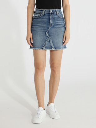 7 For All Mankind Fray Distressed Denim Mini Skirt