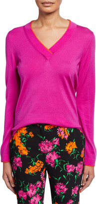 Escada Contrast-Piped Wool V-Neck Sweater