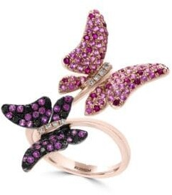 Effy 14K Rose Gold Diamonds Sapphires and Rubies Butterflies Ring