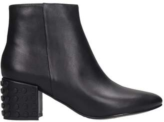 Bibi Lou Low Heels Ankle Boots In Black Leather