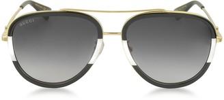 Gucci GG0062S 006 Black/White Acetate and Gold Metal Aviator Women's Sunglasses