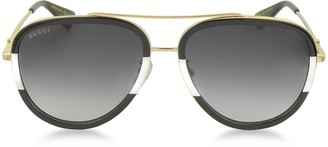 Gucci GG0062S 006 Black/White Acetate and Gold Metal Aviator Women's Sunglasses