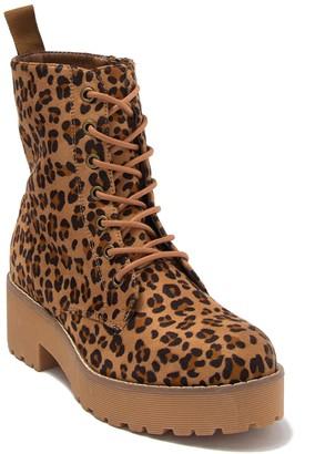 Chinese Laundry Mazzy Cheetah Print Combat Boot