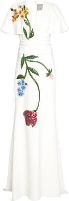 Lela Rose Floral-Beaded Crepe Flutter-Sleeve Gown