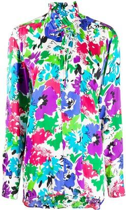 Plan C Tie-Neck Floral Print Blouse