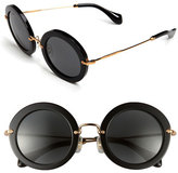 Miu Miu Women's 49Mm Round Retro Sunglasses - Black