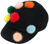 Fendi pom pom baseball cap - women - Mink Fur/Wool - One Size