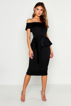 boohoo Off The Shoulder Peplum Midi Dress