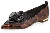 Nicholas Kirkwood Beya Bow Patent-Leather Loafer, Tortoise Shell/Black