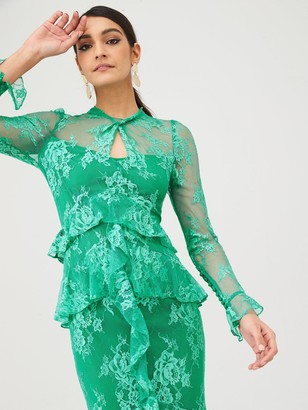Very Lace Ruffle Front Maxi Dress - Green