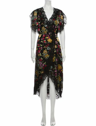 Alice + Olivia Floral Print Long Dress w/ Tags Black