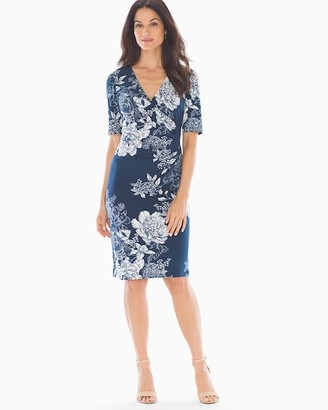 Soma Intimates Adrianna Papell Side Ruched Dress Blue Multi