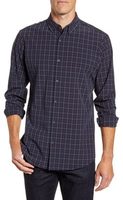 Mizzen+Main Redding Trim Fit Plaid Button-Down Performance Shirt